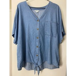 TIME AND TRU Front Tie Button Down Chambray Top